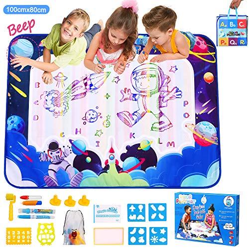 Aqua Magic Doodle Matte, Wasser Doodle Matte 100*80cm Groß Doppelseitig Malmatte Wasser Zeichnen Matte für Kinder Mit Wasserstift Werkzeuge Stempe Zubehör Lernspielzeug Geschenke für Jungen Mädchen