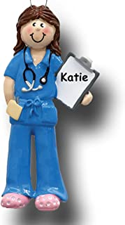 Rudolph and Me Personalized Doctor Physician Nurse Christmas Ornament in Blue Uniform Scrubs with Stethoscope Holding Medical Chart - Custom Name