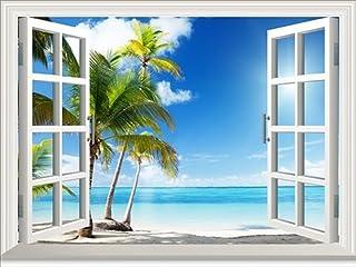 選べる ウォール ステッカー 窓 の 風景 いろいろ (トロピカル リゾート ビーチ 80x60cm)