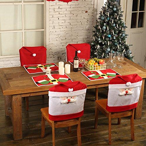 Natale Sala da Pranzo copertura della sedia Copri Decorazione Natalizia Festa (4x copri sedie natalizi + 4x Stuoie da Tavola di Natale)