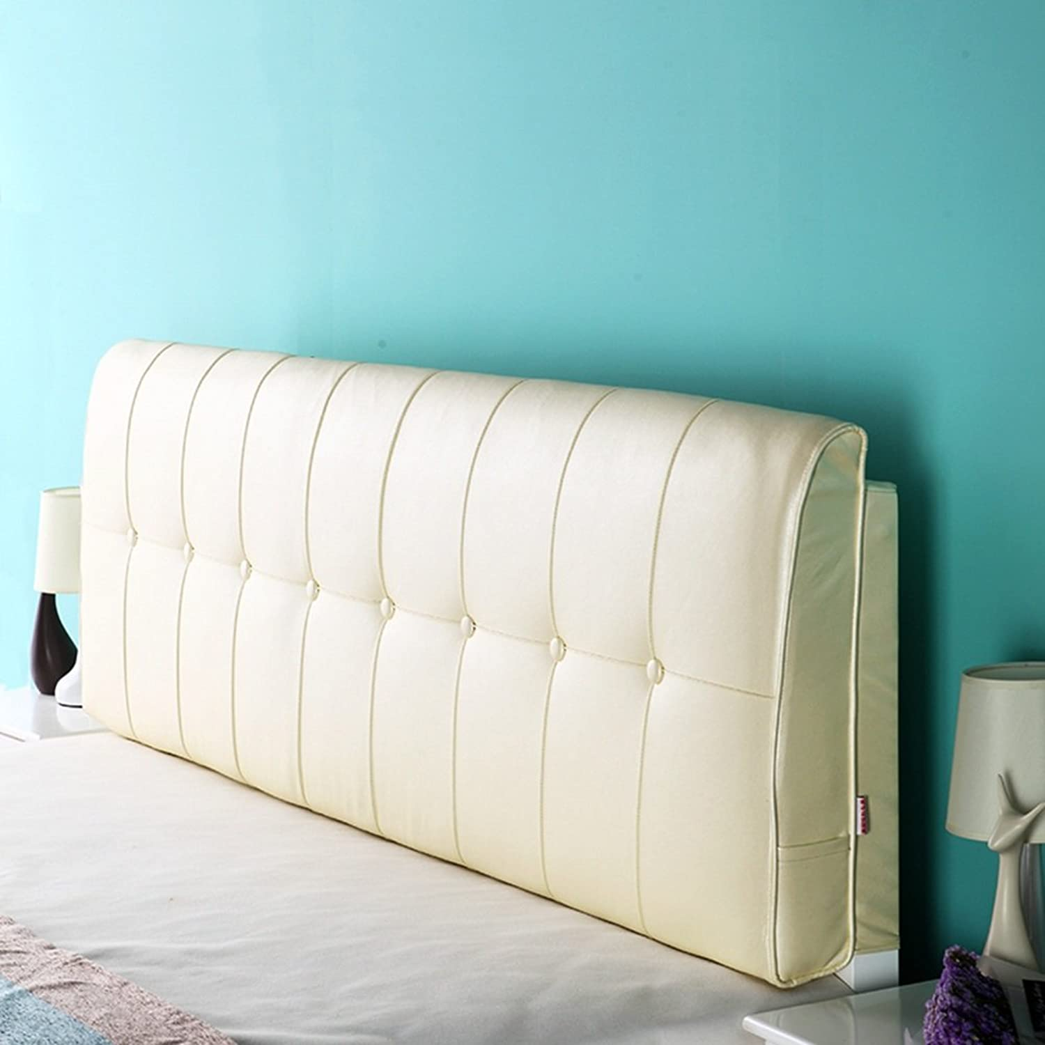 WENZHE Upholstered Fabric Headboard Bedside Cushion Pads Cover Bed Wedges Backrest Waist Pad Large Back Multifunction Soft Case Anti-collision Head, There Is Headboard   No Headboard, 4 colors, 5 Sizes ( color   1  , Size   With headboard-190cm )