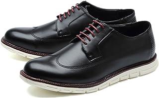 [Generic] メンズ カジュアルシューズ オックスフォードシューズ ビジネスシューズ レースアップ ウイングチップ 外羽根 快適 軽量 ホワイトソール メダリオン 紳士靴?