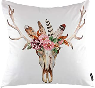 oFloral Deer Skull Throw Pillow Covers Bohemian Deer Head Taibal Wreath Flowers Feathers Decorative Square Pillow Case 18