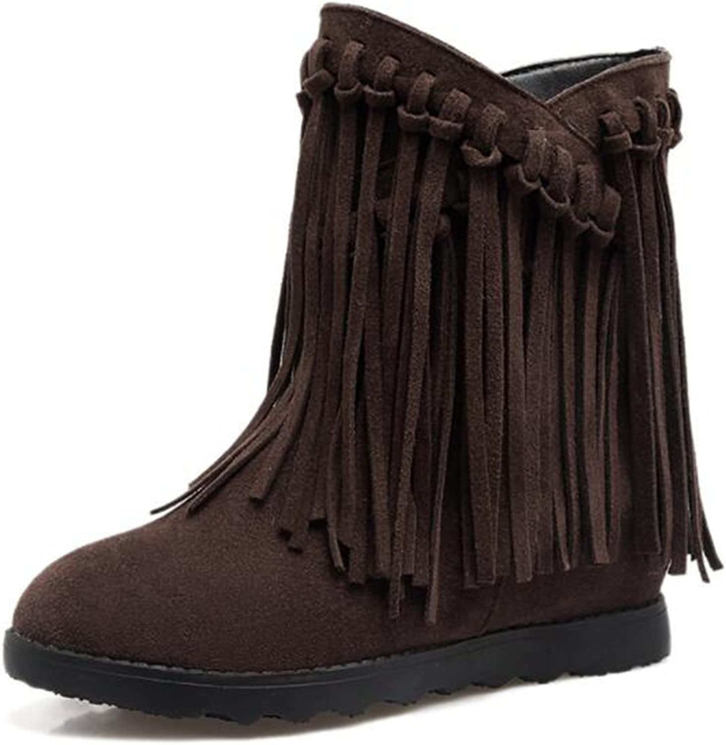 IDIFU Women's Retro Fringes Mid Wedge Heels Hidden Inside Frosted Pull On Ankle Boots