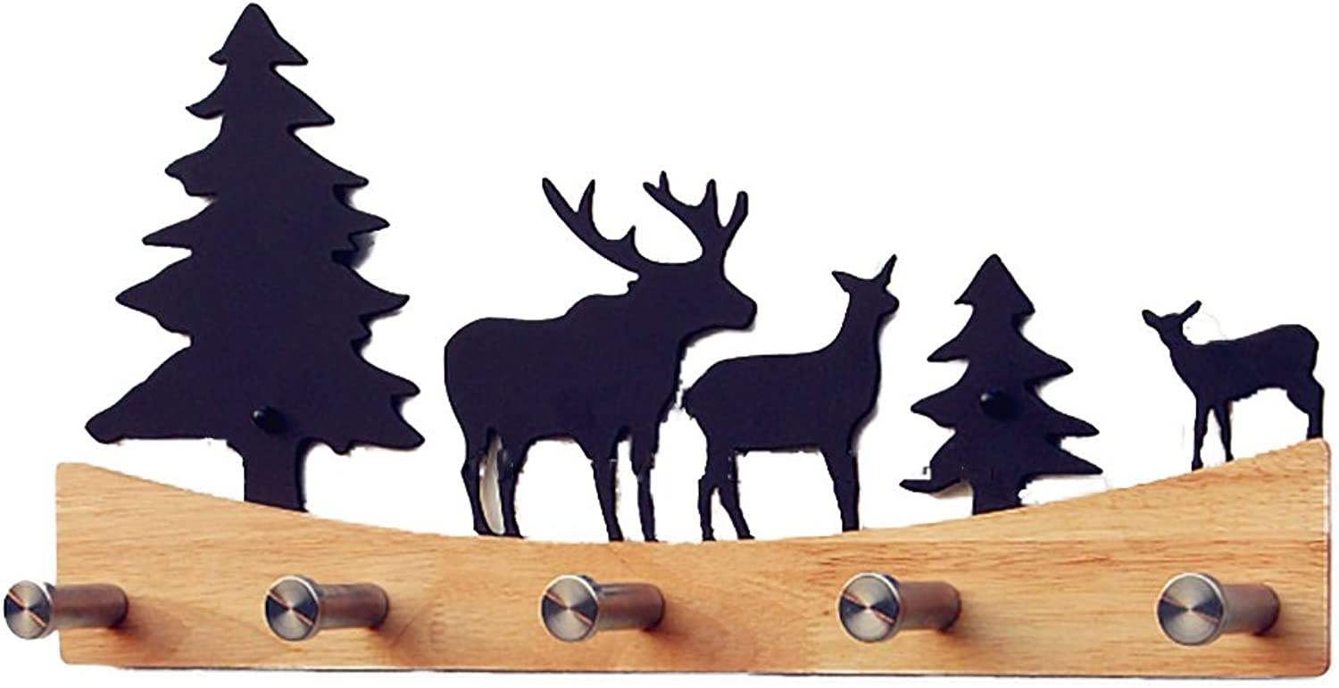 QIANGDA Coat Hat Rack Wall-Mounted Solid Wood with 5 Metal Hooks, 49  23cm 2 colors Optional (color   Wood color)