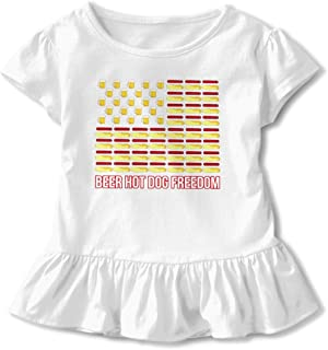 Stylish Wholesale Children's Short with A Mix of Ruffle Fashion T Shirt Printed Beer Hot Dogs America