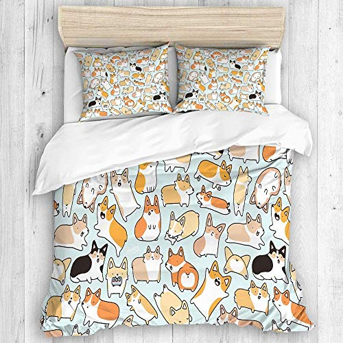 GeGe Duvet Cover, Mythical Creature Snowman Figure on The Hills Leaving Footprints Behind Him Duvet Cover Set, Zipper Closure&Corner Ties, Simple Style Comforter Protector