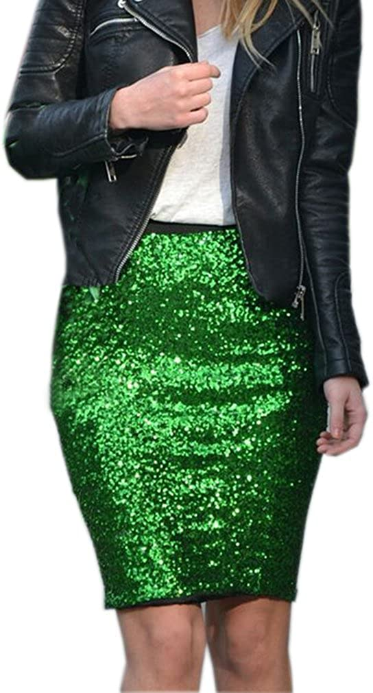 Lisong Women Above Knee Sequin Green Evening Party Prom Skirt