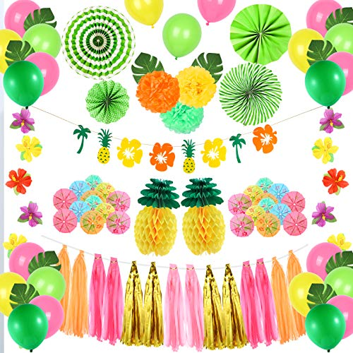 Auihiay 146 Pieces Tropical Party Decoration Set with Tropical Leaves, Hanging Paper Fans, Pineapple Banner, Balloons, Table Decor for Hawaiian Jungle Beach Summer Party Baby Shower Photo Backdrop