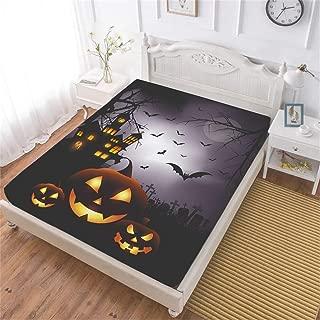 Oliven Halloween Fitted Sheet Twin Size,Halloween Pumpkin Deep Pocket Sheet 1 Piece Halloween Decor