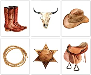 Western Cowboy Wall Art, Cow Skull Canvas Wall Art Decor, West Rodeo Cowboy Hat and Boots Art Print for Farmhouse Decor, Western Theme Wall Art, Set of 6-(8