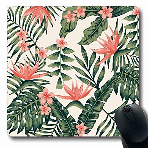 Jamron Mousepad OblongBeach Fröhliche Blätter Stil Bikini Plumeria Muster Tropische Vintage Gelb Natur Sommer Texturen Rutschfeste Gummi Mauspad Büro Computer Laptop Spiele Mat