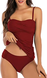 HAIVIDO Women's Ruched Bandeau Two Piece Bathing Suits Tummy Control Tankini Swimsuits with Bikini Bottom
