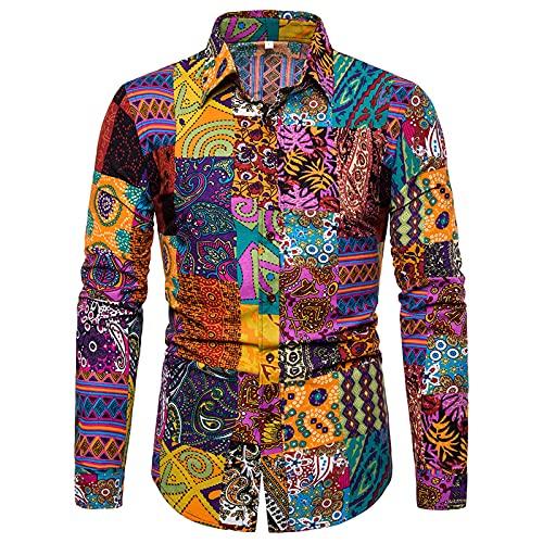 Ocuhiger Camisas Casuales De Moda para Hombres Camisa De Manga Larga con Cuello Vuelto Camisa Ajustada con Botones Blusa Estampado Digital A Rayas para Hombres Multicolor