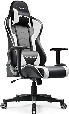 GTXMAN ゲーミングチェア リクライニング オフィスチェア 安定のアームレスト ゲーム用 椅子 (X188-WHITE) 【二年無償部品交換保証】