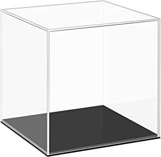 CRUODA Clear Acrylic Display Case with Black Base, Countertop Box Cube Organizer Stand Riser Dustproof Protection Showcase for Action Figures Toys Collectibles (6x6x6 Inch)