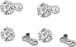 ZeSen Jewelry Acciaio Chirurgico Shiny rRound Cubic Zirconia Tops Dermal Anchor e Microdermals Base penetrante 14g 4 Pezzi