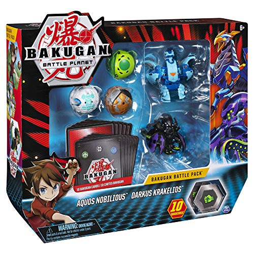 Bakugan, Battle Pack 5 Pack, Aquos Nobilious & Darkus Krakelios, Collectible Cards & Transforming Creatures, for Ages 6 & Up
