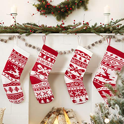 "KD KIDPAR 4 Pack 18"" Knit Christmas Stockings Large Rustic Yarn Xmas Stockings for Family Holiday Decorations"