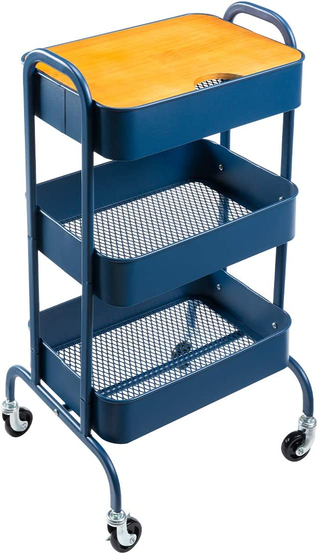 AGTEK 3-Tier Metal Utility Direct stock discount Cart Storage Wheels Ranking TOP19 with Car Rolling