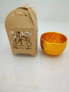 thaisan7 Small Gold Color Bowl Water Drinking Thai Antique Collection + Stencil Gift Box