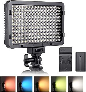 Luz de video LED ESDDI 176 LED Ultra Brillante Regulable CRI 95+ Luz de Cámara con Juego de Baterías NP-F550 y 5 Filtros de Color para Iluminación Colorida Fotografía de Retratos Video y Youtube