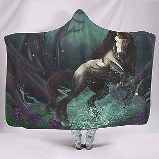 Mysterious Unicorns Golden Horn Forest Fantasy Magical Animal Artwork Print Hooded Blankets Ethnic Super Soft Big Blanket Cape Kids Home Decor White 50x60 inch