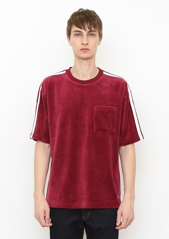 (グラニフ)graniph ベロア 半袖Tシャツ / エンジョイ ザ モーメント ロゴ タイプ J ( バーガンディ )