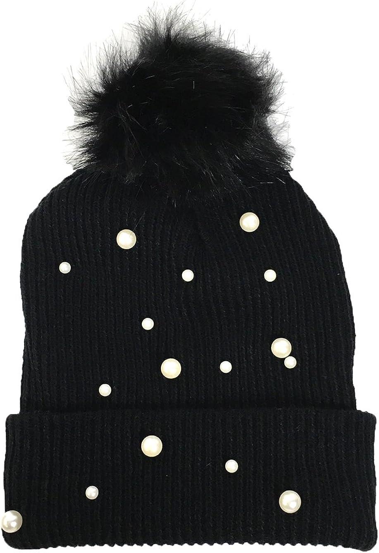 Fashion Culture Women's Pearly Glow Pom Pom Knit Hat, Black