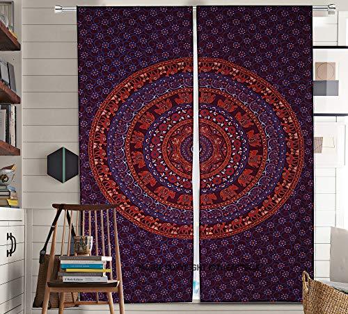The Art Box Mandala Bedroom Window Curtains Indian Drape Hanging Valances for Balcony Room Decor Curtain Boho Set Tapestry Curtains Drapes & Valances Bohemian (No: #CURN132_T)