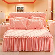 Ruffle Bed Skirt,Lace Edge Mattress Cover Thicken Quilted Non-Slip Mattress Cover Bedspread Not Fade,Single Double Pocket ...