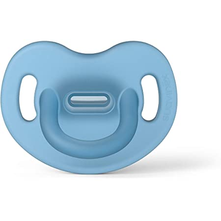 Suavinex Chupete para Dormir Todo Silicona, Para Bebés 0/6 meses, Chupete con Tetina Anatómica SX Pro, Super Blandito y Flexible, Color Azul (307246)