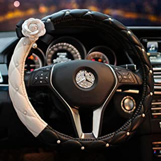 eing Fashion Cute Car Steering Wheel Cover with Diamond Pearl Flower,Idea for Girls Women Ladies,Universal Size & Fit for Four Season - Black+White&White Flower