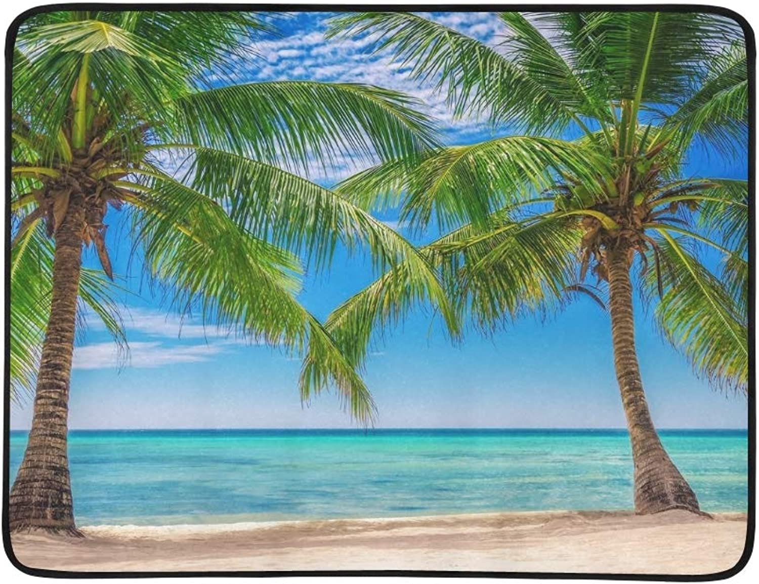 Palm Tress Exotic Beach Dominican Republic Portable and Foldable Blanket Mat 60x78 Inch Handy Mat for Camping Picnic Beach Indoor Outdoor Travel