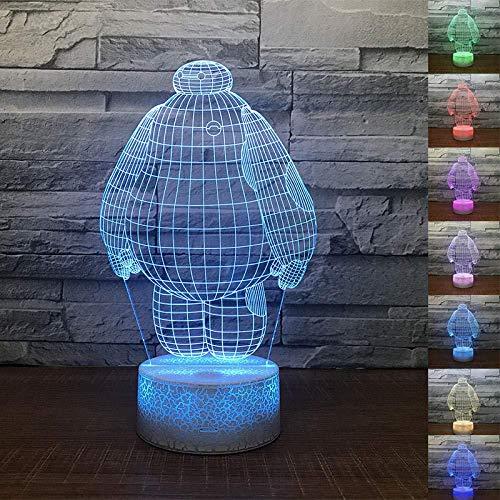 YOUPING Lámpara de ilusión 3D Led Luz de Noche Big Hero Baymax Lámpara de Mesa 7 Colores Cambiando el Dormitorio Dormir Decoración del Hogar Niños Cumpleaños Regalos de Navidad