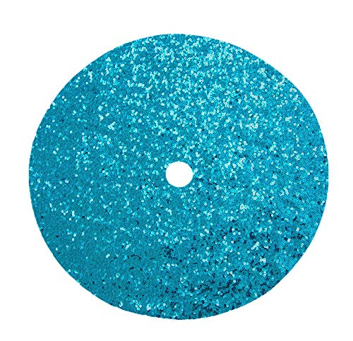 DUOBAO Sequin Tree Skirt 24 Inches Christmas Tree Skirt Turquoise Xmas Ornaments Rustic Xmas Holiday Decoration (24Inch, Turquoise)