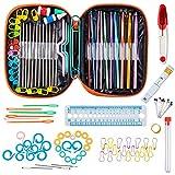 Juego de ganchos de ganchillo Niviy para tejer accesorios de 100 piezas de herramientas de costura DIY incluye 22 tamaños de agujas de tejer con funda portátil