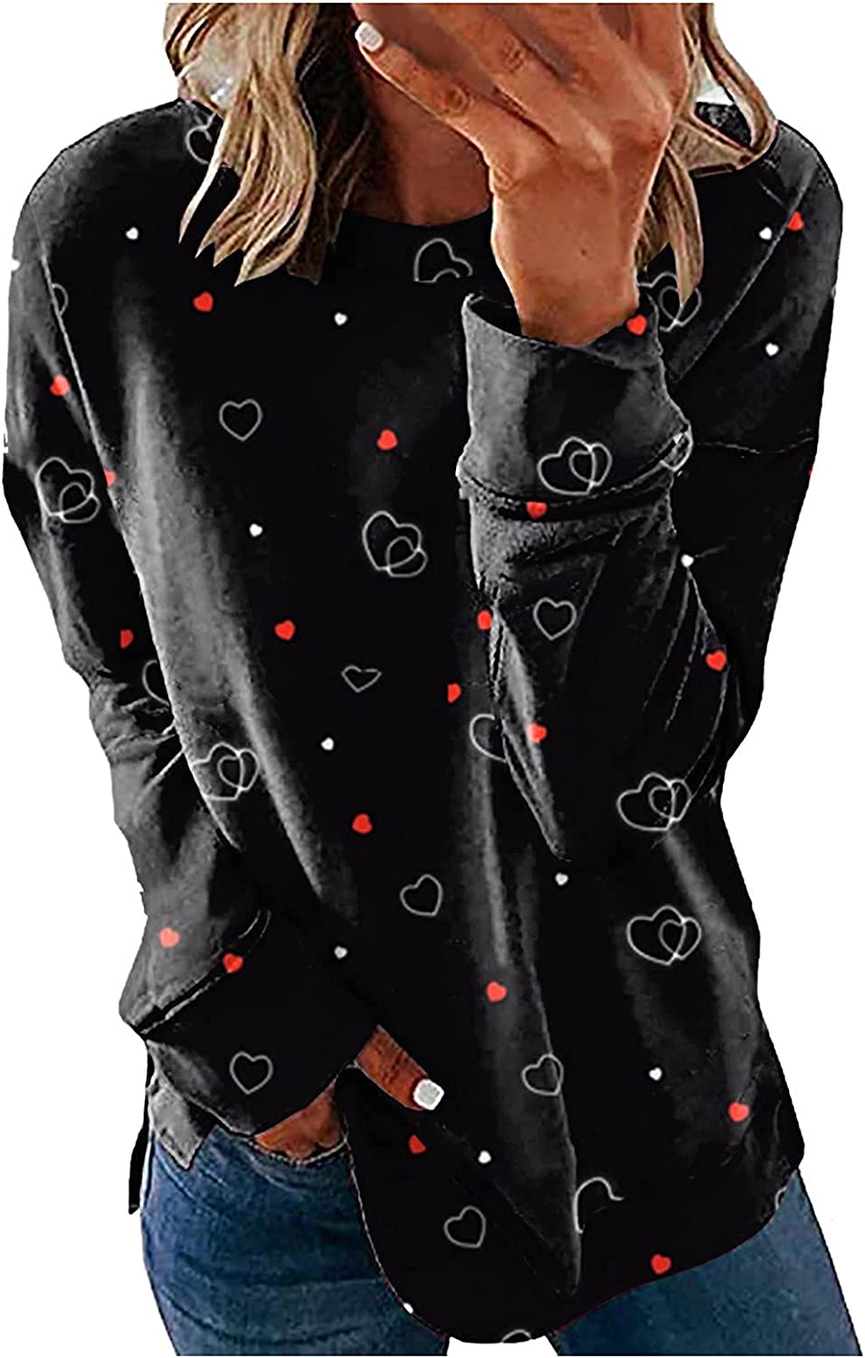 Womens Tops and Blouses Fashion Tie-Dye Gradient Pullover Casual O Neck Sweatshirt Daily Loose Pretty Tunic