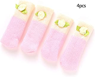 OUOK 4 Pieces Chair Leg Socks Furniture Legs Cover Cotton Socks Floor Protector Chair Leg Pad,Pink