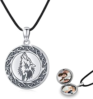 S925 Sterling Silver Vintage Wolf Locket Necklace That Holds Pictures Photo Locket Necklace Valentine's Day Thanksgiving C...