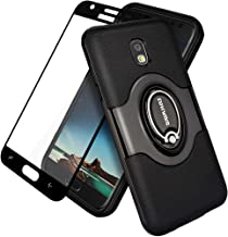 Galaxy J3 2018/J3 V 3rd/Express Prime 3/Achieve/J3 Star/Amp Prime 3 Case, COVRWARE with Tempered Glass Screen Protector Ring Holder Kickstand 360° Ring Grip Stand Work with Magnetic Car Mount - Black
