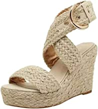 GDJGTA Wedges Sandals Women's Open Toe Breathable Fashion Casual Big Size Buckle Wedges Sandals Roman Shoes
