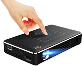 Mini Projector, M10T Portable Pocket Projector Touch Panel Android Smart TV 4K UHD Support Slim Wireless LED DLP Phone Projector Built-in 9000mAh Batteries with LiveTV.Direct Services