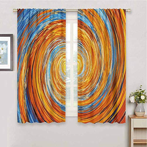 Bedroom Decor Blackout Shades Fractal Hippie Style Vortex Spiral Rotary Colorful Chaotic Unusual Turning Contrast Design Home Decor Sliding Door Curtains W42 x L63 Inch Orange Blue