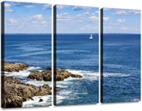 Landscape with Rocks of Marginal Way and Sailboat, Ogunquit, Maine. Wall Artwork Exclusive Photography Vintage Abstract Paintings Print on Canvas Home Decor Wall Art 3 Panels Framed Ready to Hang