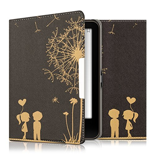 kwmobile Hülle kompatibel mit Tolino Vision 1/2 / 3/4 HD - Kunstleder eReader Schutzhülle Cover Case - Pusteblume Love Gold Schwarz