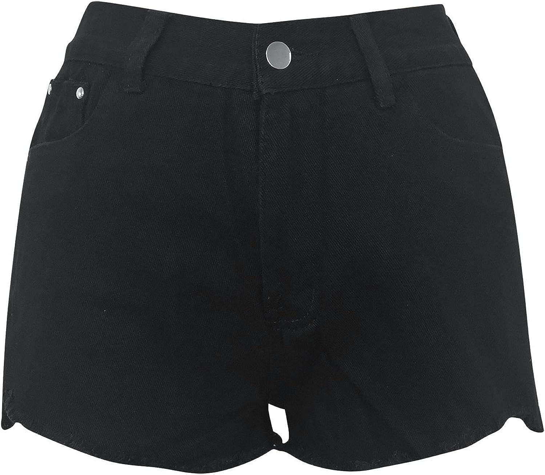 Women'S Summer Retro Fashion Old Mid-Waist Comfortable Stretch Denim Shorts Hot Pants