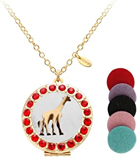 SENFAI Cute Giraffe Lockets Pendant Necklace for (Gold)