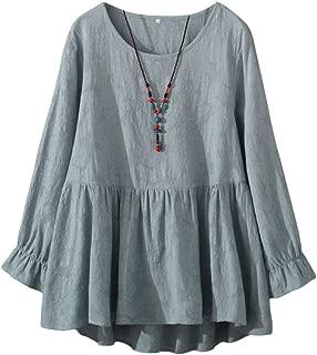 Women's Cotton Tunic Tops Long Sleeve Swing Pleated Mini Dress Jacquard Blouse