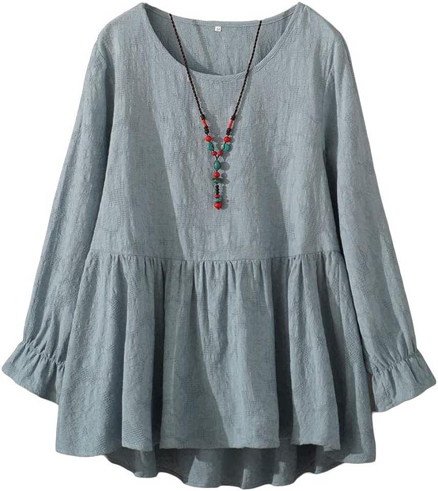 Mordenmiss Women's Cotton Tunic Tops Long Sleeve Swing Pleated Mini Dress Jacquard Blouse